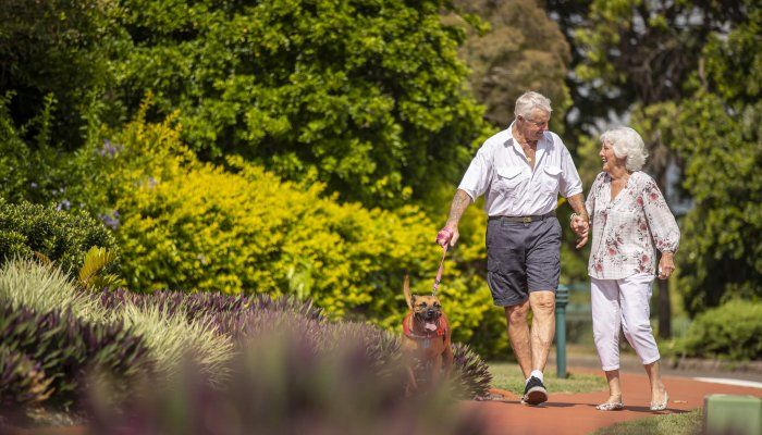 Couple at retirement community with pet